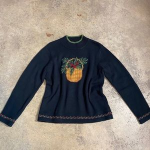 Orvis Holly Basket Holiday Mock Pullover Sweater